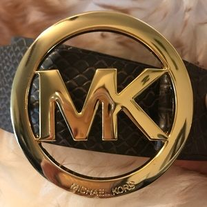 MK Michael Kors Logo Belt Brown Embossed Small